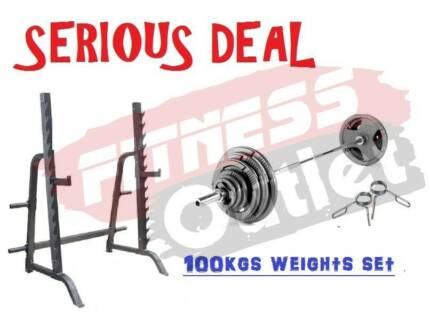 NEW COMMERCIAL SQUAT RACK + 100KG WEIGHT SET