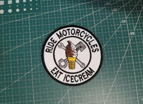 RIDE MOTORCYCLES EAT ICE CREAM BIKER VEST PATCH 3.5