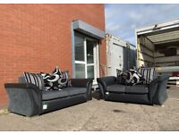 Grey & Black Harvey's 2&3 seaters delivery 🚚 sofa suite couch