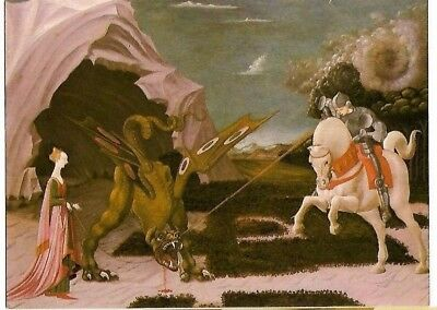 "VINTAGE POSTCARD: ""ST GEORGE & THE DRAGON"" Paolo Uccello - ATHENA POSTCARD"