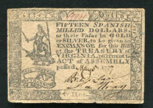 VA-121 MAY 5, 1777 $15 FIFTEEN DOLLARS VIRGINIA COLONIAL CURRENCY NOTE