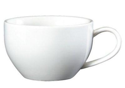 6 x Genware White Bowl Shaped Cups 9oz / 25cl Super Vitrified Restaurant F6H+