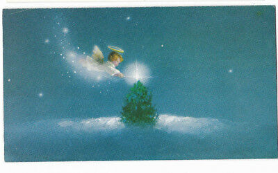Vintage Artistic Flying Angel with Halo Christmas Tree Christmas Card