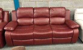 3 + 2 red Leather sofas