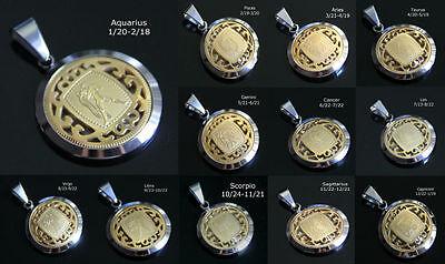 Men Women Stainless Steel Silver Gold 12 Zodiac Horoscope Pendant Leo Taurus