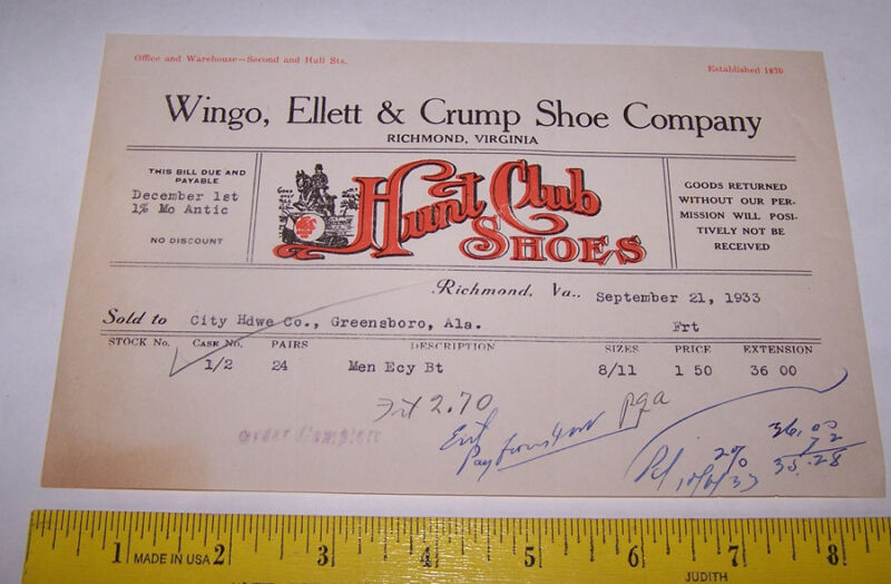 1933 WINGO ELLETT & CRUMP SHOE COMPANY Invoice RICHMOND VIRGINIA Hunt Club Shoes