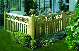 6ft x 3ft Elite Cross Top Wooden Fence Panel - Pressure Treated