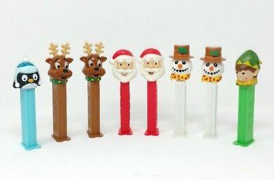 Vintage Christmas Pez Dispensers Footed Lot of 8 Santa Reindeer Snowman