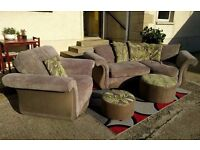 Grey 3 seater chaise sofa + armchair + 2 pouffee