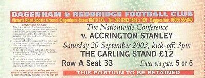 Ticket - Dagenham & Redbridge v Accrington Stanley 20.09.03