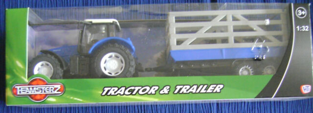 TEAMSTERS TRACTOR & EMPTY BARRED TRAILER FARM TOY MODEL BLUE