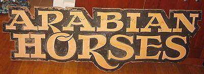Vintage Original 'ARABIAN HORSES' Painted Wood SIGN - Barn Farm ESTATE Fresh