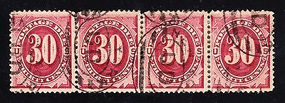 US J27 30c Postage Due Very Scarce Used Strip of 4
