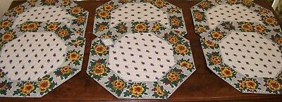 Set of 6 French Provencal placemats, Avignon, France 100% Cotton, Octogonal