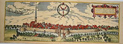 Krempe Steinburg  meisterhaft kolorierter Braun und  Hogenberg Kupferstich 1580
