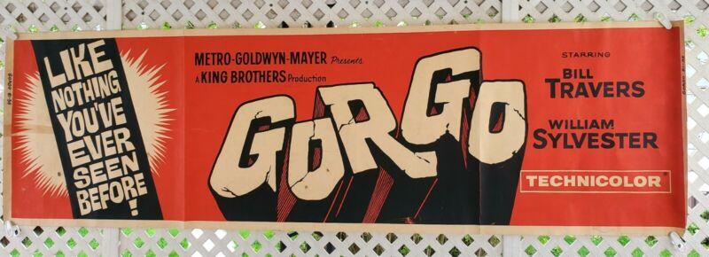 "1961 ""GORGO"" Monster Horror MOVIE THEATER 7 FOOT LOBBY BANNER DISPLAY POSTER"
