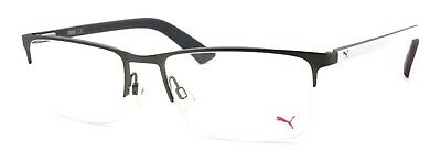 PUMA PU0028O 007 Men's Eyeglasses Frames Half-rim 56-18-140 Ruthenium / (White Eyeglass Frames For Men)