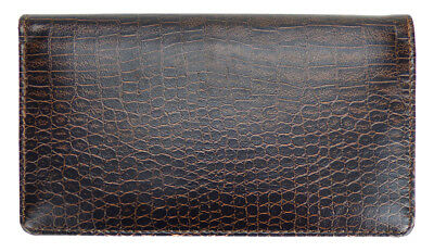 (Reptile Brown Leather Checkbook Cover)