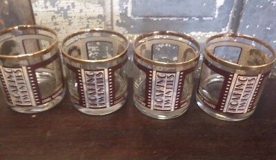 Roaring Twenties Gold Trimmed Lowball Glasses Set of 4 Silent Movie Actors