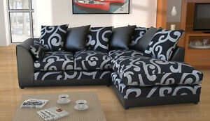 New Zina Black Swirl Fabric Corner Sofa With Footstool