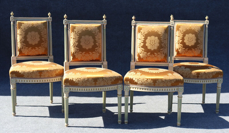 Outstanding Rare Set 4 Signed Maison Jansen Painted Silk Side Dining Chairs