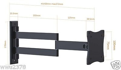 LCD Monitor TV Wall Mount Articulating Arm Bracket for most 13-27