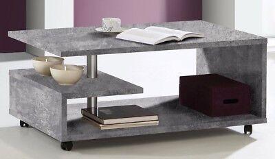 Couchtisch Bailey auf Rollen Wohnzimmertisch Tisch Beistelltisch Beton Optik - Tisch Auf Rollen