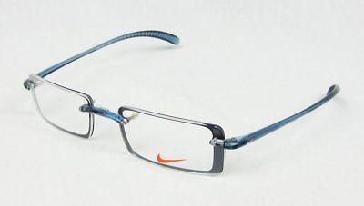 Nike 3021 Rectangular Eye Glasses Denim Blue Flexon Frame Rimless