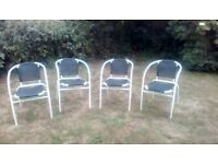 Garden metal chairs x 4 in good clean condition