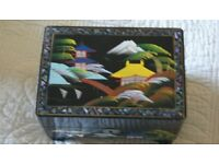 Beautiful Japanese black lacquered jewellery box