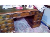 Fantastic double pedestal very old executive desk walnut with leather top