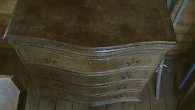 Chest of 4 drawers, with draw-leaf desk and Serpentine Front and 4 'Bracket Feet'