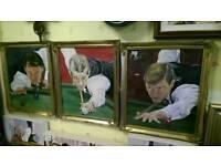 Three paintings of Snooker Stars!