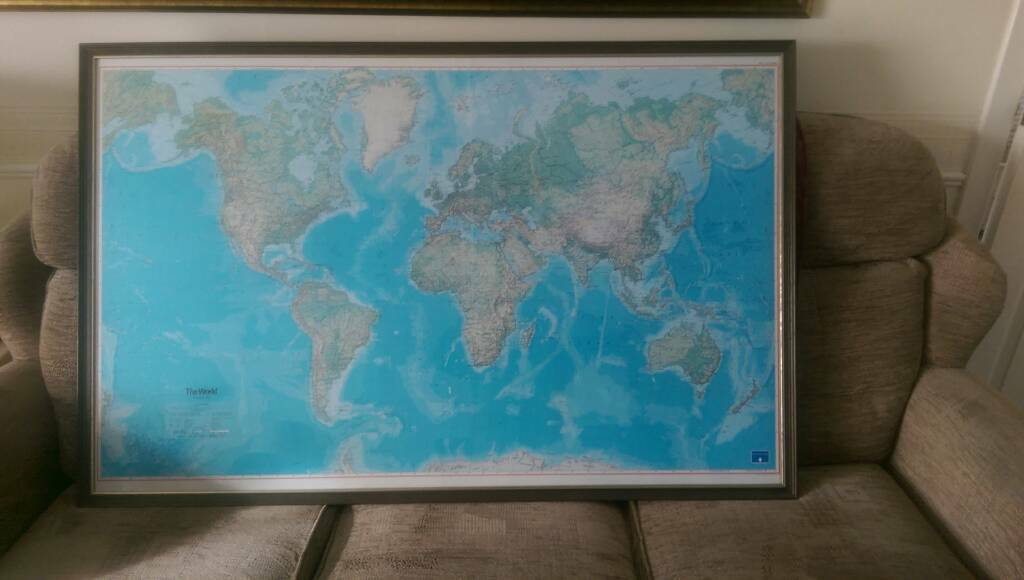 Large Framed World Map In Wishaw North Lanarkshire Gumtree