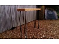 Solid oak console table with hairpin legs