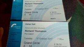 Richard Thompson Edinburgh Usher Hall tickets x 2 October 2017