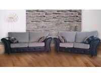 BRAND NEW STLISH SOFAS 3+2 SEATER JUMBO CORD AND LEATHER GREY BLACK BROWN - !! FAST FREE DELIVERY !!