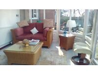 conservatory 2 seater cane sofa with matching coffee table and side table