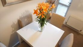 Gorgeous Extendable White Dining Set with Four Chairs