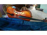 Cello, half size with soft case. No bow.