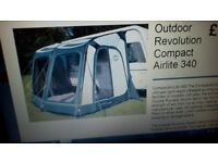 Caravan air awning outdoor revolution oxygen compact air lite 340 used twice
