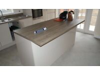 Kitchen worktop with sink and island