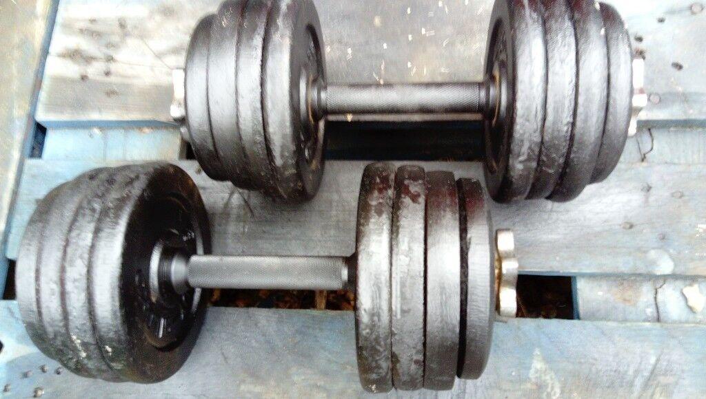 Dumbbells weights set 2 x 19 kg in total 38 kg
