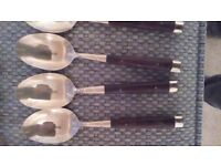 Beautiful bronze and rosewood cutlery set.