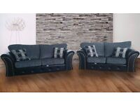 LONDON STYLE 3+2 SEATER SOFAS JUMBO CORD AND LEATHER GREY BLACK BROWN - !! FAST FREE DELIVERY !!