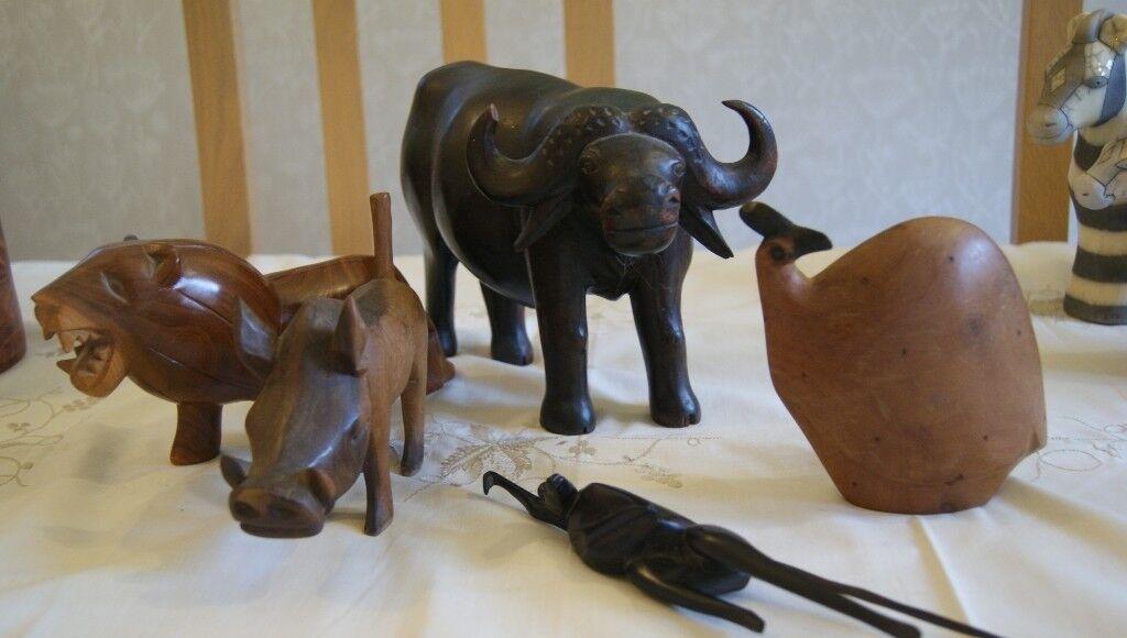 Set Of Beautiful African Carved Wooden Animal Sculptures In Wrecclesham Surrey Gumtree