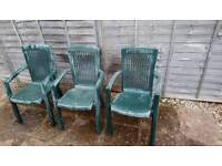 Garden chairs 3x plastic, green, FREE TO COLLECT FROM BRISLINGTON