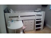 Steens white mid sleeper bed complete with desk nd chest of drawers