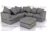 **14-DAY MONEY BACK GUARANTEE!** Jamba Dual-Padded Extra Thick Jumbo Fabric Corner Sofa- RRP£599!!