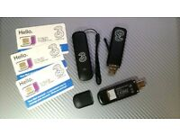 3 mobile broadband USB modems. microSD slots, all fully working. 3 new SIM cards to choose from